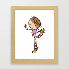 Girl with long legs and a love heart Framed Art Print