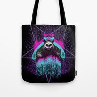 three of the possessed Tote Bags featuring Possessed Panda by Pigboom Art