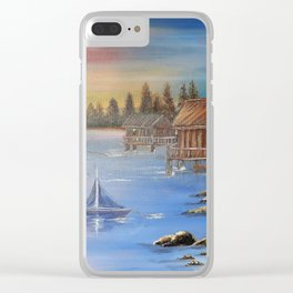 Old Fishing Lodge Clear iPhone Case