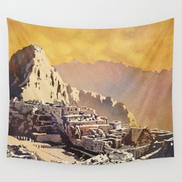 Fine art watercolor painting of Incan ruins of Machu Picchu- Sacred Valley, Peru. Wall Tapestry