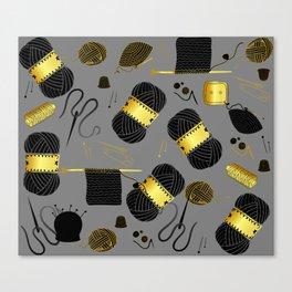 Gold and Black yarn Canvas Print