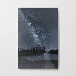 Milky Way in Blue Metal Print