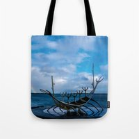 vikings Tote Bags featuring Remember the Vikings by Alex Tonetti Photography