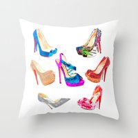 shoes Throw Pillows featuring SHOES! by HeyShay