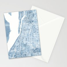 Memphis Tennessee blueprint watercolor map Stationery Cards