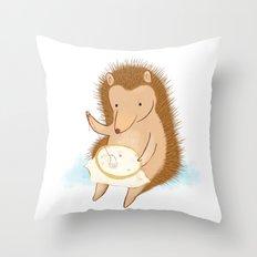 Hedgehog stitching a hedgehog Throw Pillow
