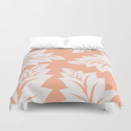 tropical coral leaves Duvet Cover