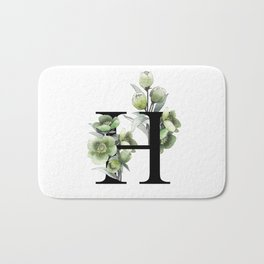 Letter 'H' Helleborus Flower Typography Bath Mat