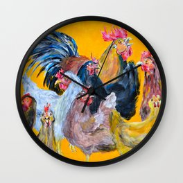 Chickens of Many Colors Wall Clock