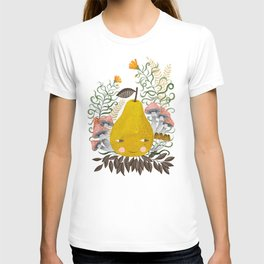 Winter pear with flowers and mushrooms watercolor illustration T-shirt