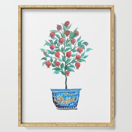 Persephone- Pomegranate Tree on White Serving Tray