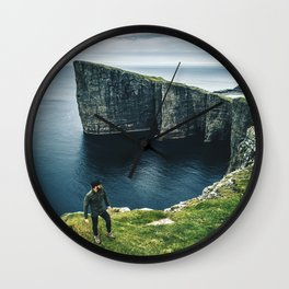 man at the faroe islands Wall Clock