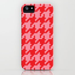 Houndstooth - Pink & Red iPhone Case