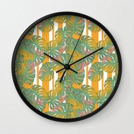 Golden Monstera Pinstripe Wall Clock