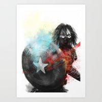 the winter soldier Art Prints featuring Winter Soldier by Alba Palacio