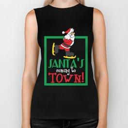 Hilarious & Joyful Xmas Tshirt Design Santa s coming to town Biker Tank