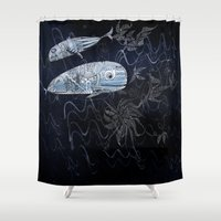whales Shower Curtains featuring whales by Bunny Noir