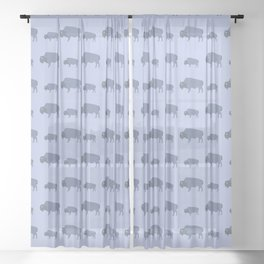 Bison And Baby (Tide) Sheer Curtain