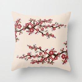 Japanese Sakura Cherry Blossoms (ivory/red) Throw Pillow