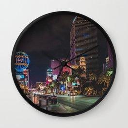 Las Vegas Strip at Night Wall Clock