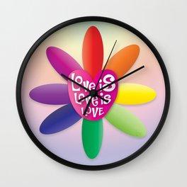 Love is Love is Love - Rainbow Flower Wall Clock