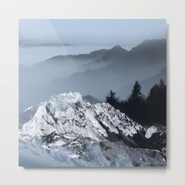 FOGGY BLUE MOUNTAINS Metal Print