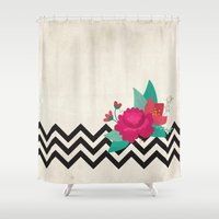 bonjour Shower Curtains featuring bonjour by Marilia Cichini