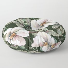 The midnight roses garden, vintage flower garden illustration pattern Floor Pillow