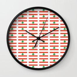 Flag of Lebanon-Lebanese,لبنان ,liban,libanais,beirut,cannaanite,phienician. Wall Clock