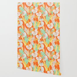 Lush Lily - orange zest Wallpaper