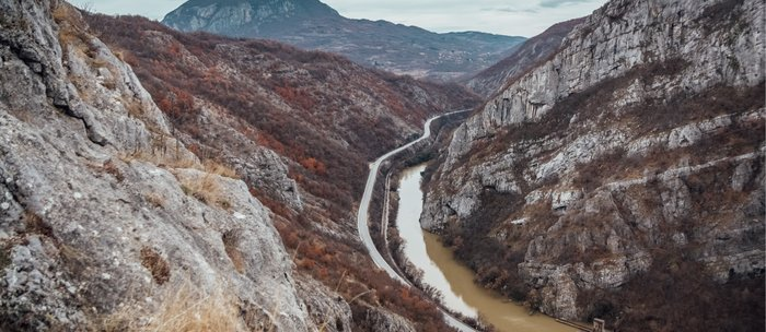 Beautiful photo of the canyon in Serbia, with river and the highway in the middle Coffee Mug