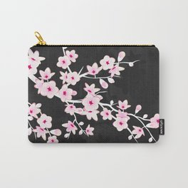 Pink Black Cherry Blossom Carry-All Pouch