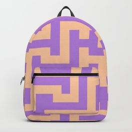 Deep Peach Orange and Lavender Violet Labyrinth Backpack