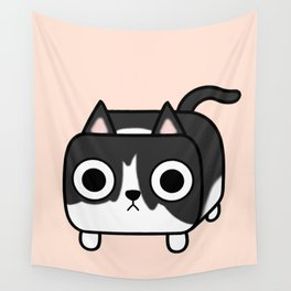 Cat Loaf - Tuxedo Kitty - Black and White Wall Tapestry