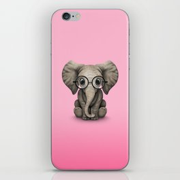 Cute Baby Elephant Calf with Reading Glasses on Pink iPhone Skin