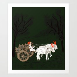 Bullock cart Art Print