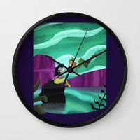 peter pan Wall Clocks featuring Peter Pan by enosay