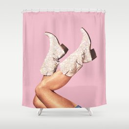 These Boots - Glitter Pink Shower Curtain