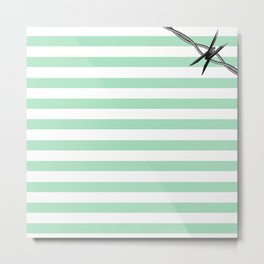 Pastel Goth - Mint Stripes and Barbed Whire Metal Print