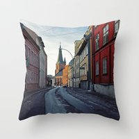 oslo Throw Pillows featuring Oslo street by Lauren Cassidy
