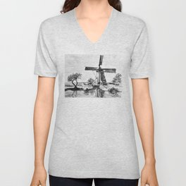 Dutch Windmill Netherlands Unisex V-Neck