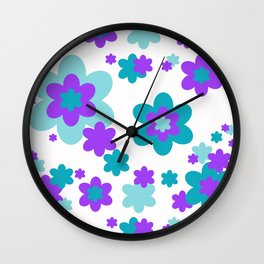 Turquoise Teal Blue and Purple Floral Wall Clock