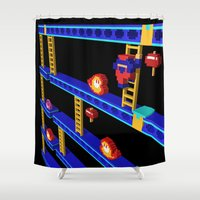 donkey kong Shower Curtains featuring Inside Donkey Kong stage 4 by Metin Seven