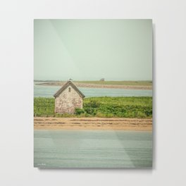 Little Beach House with Seagull Atop Metal Print