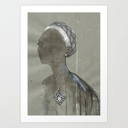 girl with silver diamond oltu stone necklace Art Print
