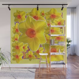 YELLOW-GOLD DAFFODILS FLOWER COLLAGE Wall Mural