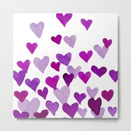 Valentine's Day Watercolor Hearts - purple Metal Print