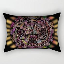 Aztec Sun Psychedelic Mask Rectangular Pillow