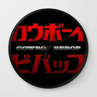 bebop Wall Clocks featuring Cowboy Bebop Logo Remix by InvaderDig
