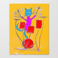 rock n roll Canvas Prints featuring Rock n Roll Kitty by Zoe's Creatures